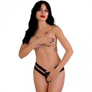 LUCY CROTCHLESS THONG PANTY NEGRO